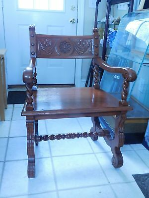 Antique Red Oak  Arm Chair 1900-1950's Solid As A Rock
