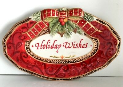fitz and floyd damask holiday wishes christmas candy dish red green gold 10 euc - Christmas Candy Dish
