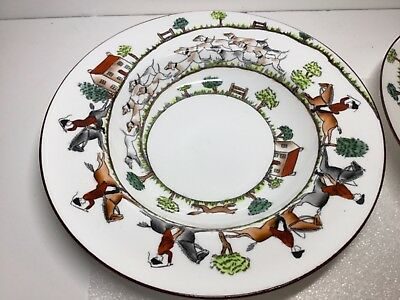 Crown Staffordshire Hunting Scene Large Rimmed Soup Bowl