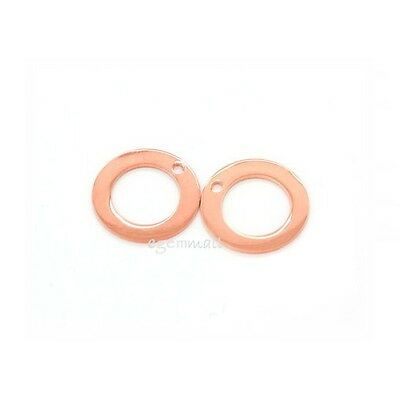 10pc Rose Gold Plated Sterling Silver Donut Charm 11mm #51558