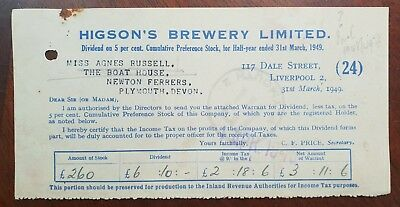1949 Higson's Brewery Limited, Dividend Form for Agnes Russell, Newton Ferrers