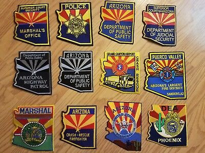 Arizona LOT of 12 Police and Fire State shaped patches
