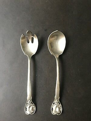 Williamsburg Virginia Shirley Handmade Pewter Salad Serving Spoon & Fork Set 9""