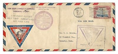 1928 First Airmail CAM AM 26 Ogden UT Postal Cover Boston MA New York NY