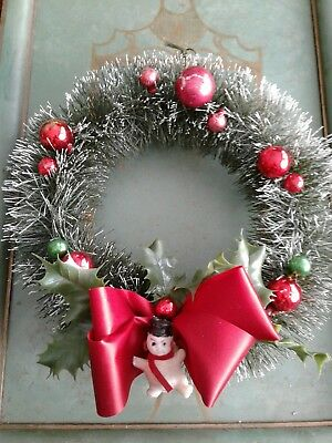 """Vintage Christmas Flocked Bottle Brush Wreath 10"""" With Glass Ornaments"""