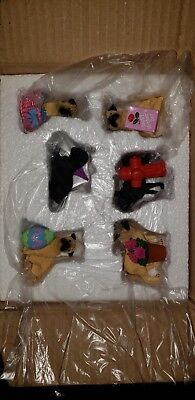 6 PC mini PUG PUPPY DOG FIGURINES SITTING