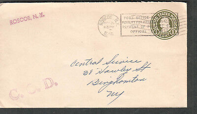 1956 penalty on 1 ct Franklin cover Postmaster Roscoe NY to Binghamton COD