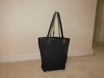 6e1bfd5c8cc Vintage Gucci 002 1099 Black Gg Monogram Fabric Leather Mini Tote Bag Purse  Rare