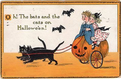 Halloween Postcard By Tuck, Raphael & Sons, Series 190, Bats And Cats, Jol.