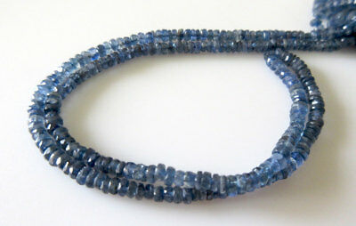 Natural Blue Kyanite Faceted Rondelle Bead 4mm To 4.5mm Each 15 Inch Strand GDS6