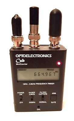 OPTOELECTRONICS CUB Frequency Counter Bug Detector w/ power supply and Antennas