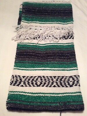 """Authentic Mexican Falsa Hand Woven Blanket 74"""" x 50""""  Yoga/ Imported"""