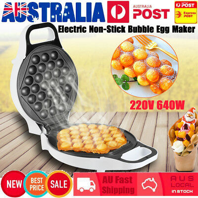 220V 640W Electric Bubble Egg Maker Oven Waffle Kitchen Baker Machine Tool AU
