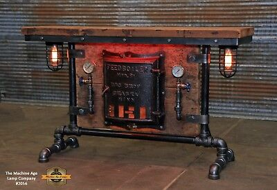 Steampunk Industrial Machine Age Steam Gauge Table Stand Bar Console Lamp
