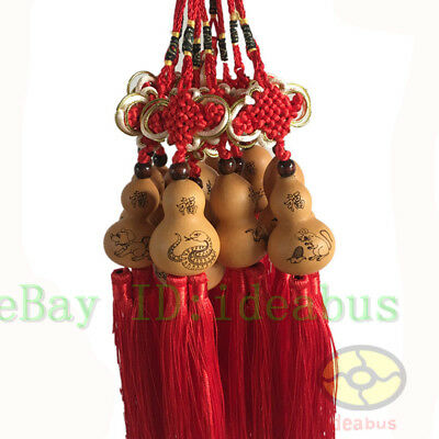 1/ 12/24/48PCS Chinese Twelve Zodiac Natural Gourd with Knot & Tassel ornaments