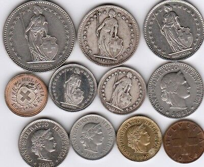 11 different world coins from SWITZERLAND some silver