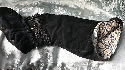 Stunning Antique French Velvet Sleeve With 3Jet Bead Appliqués & Cotton Lining