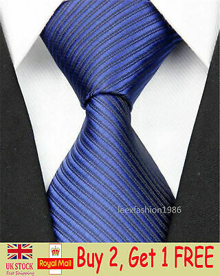 Mens Classic Wedding Silk Tie Slim Business Necktie Dark Blue Skinny Ties Men