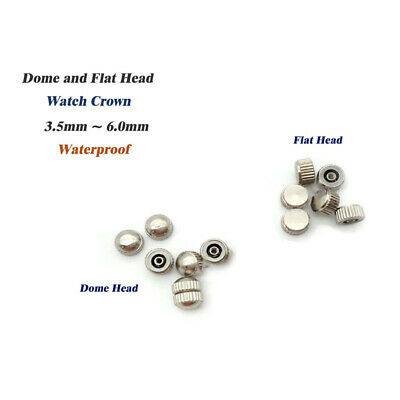 Waterproof Crown Watch Part Replacement Assorted Gold Silver Dome Flat Head New