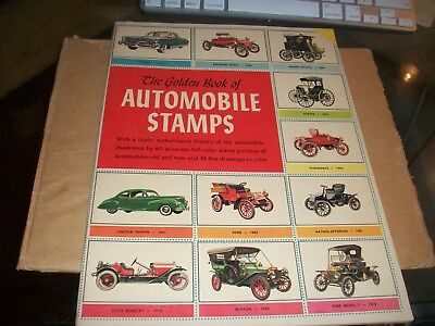 THE GOLDEN BOOK OF AUTOMOBILE STAMPS 1952 softbound book history cars STAMPS