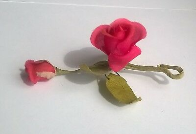 Vintage Handmade Silk Red Rose Brooch Original 1950s