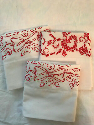 Vintage PILLOW CASES Red/White Embroidery Cross Stitch Standard Size Lot of 3