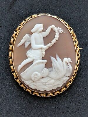 Antique Victorian Shell Cameo 9ct Gold Brooch Pin Apollo