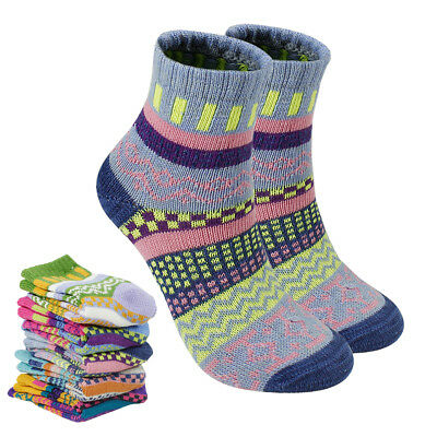 5 Pairs Warm Wool socks Women Mid tube Crew Thermal Soft Socks For Winter Gift