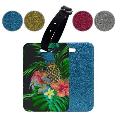 Glitter Luggage Suitcase Tag Tropical Fruit Flowers Black - S731