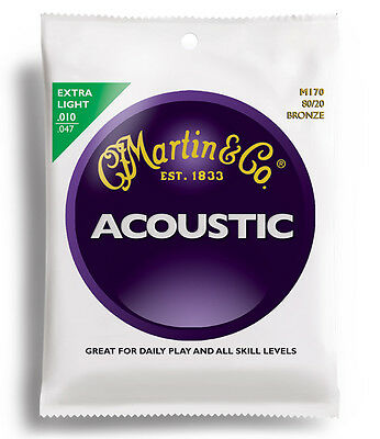 2 X SetS of Martin M170 80/20 Bronze Acoustic Guitar Strings 10-47 Extra Light