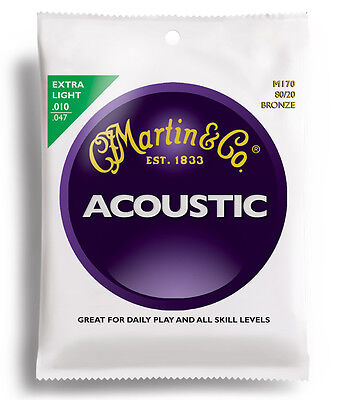 10 x SetS of Martin M170 80/20 Bronze Acoustic Guitar Strings 10-47 Extra Light