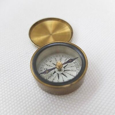 ANTIQUE MINIATURE FRANCIS BARKER POCKET COMPASS BRASS VINTAGE VICTORIAN c.1890