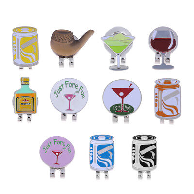 Portable Alloy Golf Ball Marker with Magnetic Hat Clip - Assorted Patterns