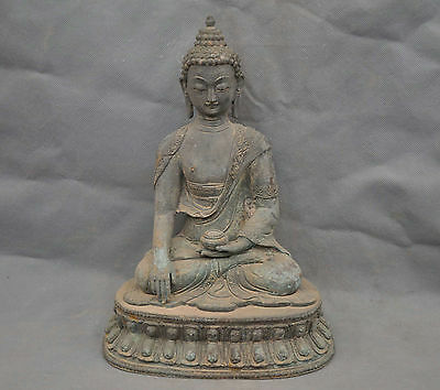 "13"" China Old Tibetan Buddhism Lotus Shakyamuni Buddha Bronze Statue"