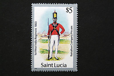 St Lucia 1985 Military Uniforms $5 Mnh