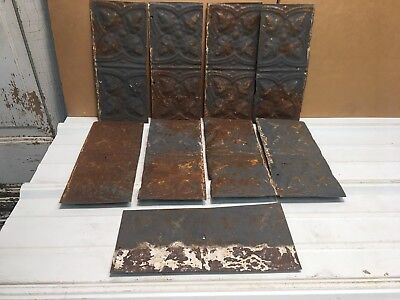 "9pc Craft Lot 11"" by 5.5"" Antique Ceiling Tin Metal Reclaimed Salvage Art"