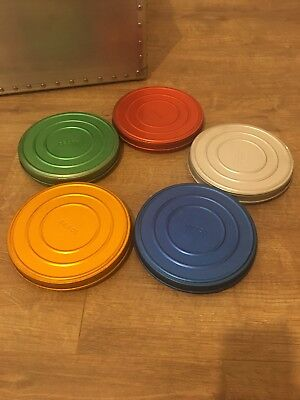 5 Multi Coloured Film Cans Tins Cine Spool
