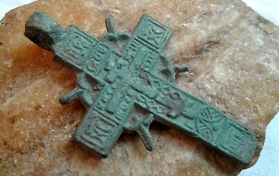 "RARE 17-18th CENTURY ORTHODOX ""OLD BELIEVERS"" ORNATE ""SUN"" CROSS PSALM 68"
