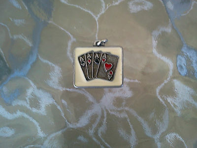 Card Playing Poker Cards Casino 2 His & Hers Four Aces Pewter Charms All New.
