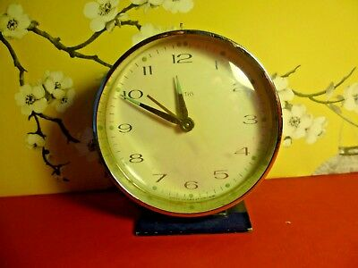 Vintage 50s 60s Smiths Alarm Clock Blue and Chrome Tick Tock Luminous Hands/Dial