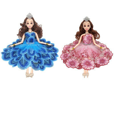 2pcs Mini Dress Handmade Doll Clothes Wedding Party Dress for Barbie Dolls