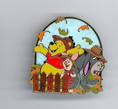 HKDL Disney Hong Kong Disneyland Pooh Piglet & Eeyore Fall Autumn Leaves Pin