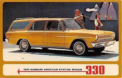 1964 Rambler 330 American Station Wagon advertising postcard car automobile