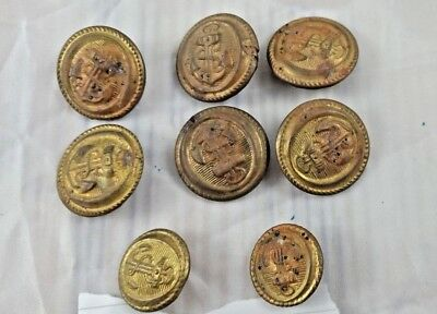 OLD VINTAGE BEAUTIFUL DESIGN UNIQUE LOOK METAL COAT BUTTON 8 PCs COLLECTIBLE