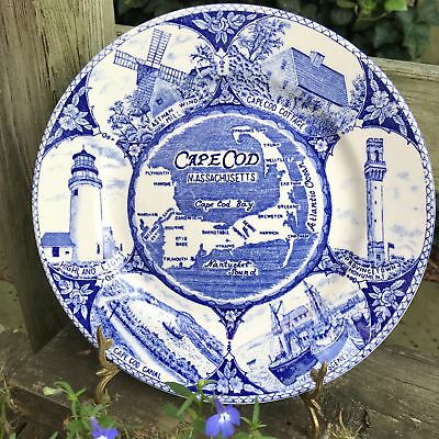 "10.5"" Vintage Massachusetts Blue & White Souvenir Plate Fishermans Cape Cod Bay"