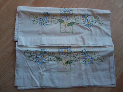 Pair of Vintage Floral  Embroidered Pillowcases