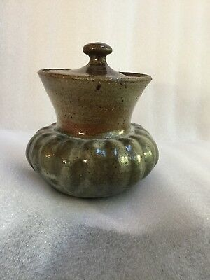 Antique signed Studio Art Pottery Gourd shaped Covered Jar 6.5in