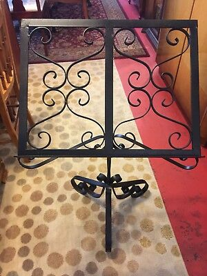 "Vintage Heavy Ornate Wrought Iron Music Book Stand 36"" Bible Holder Podium"