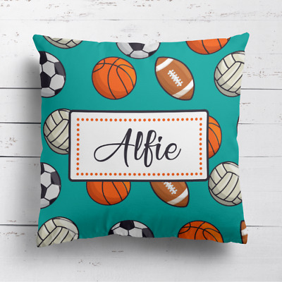 Personalised Football Basketball Rugby Kids Childrens Cushion Cover Pillow Case