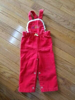 Vintage Baby Toddler Girl BUSTER BROWN Red Corduroy ABC Jumper Size 18 Months